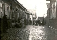 November 1943, Jews in a street in the Kovno Ghetto, Lithuania