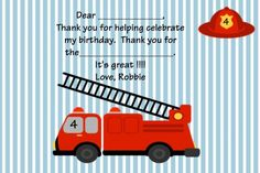 Custom Invitations, Personalized T-Shirts, Pillow Cases, Gifts Fireman Birthday, Fireman Party, 3rd Birthday, Firetruck, Diy Invitations, Childrens Party, Personalized T Shirts, Digital Art, Printable
