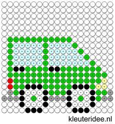Kralenplank auto, kleuteridee.nl , thema verkeer , free printable Beads patterns preschool