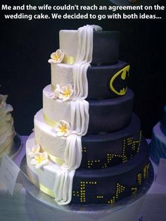 """""""I'm glad your wife got to have her Batman cake."""" Told you Garrett Batman is where its at!) Superman is okay.but not Batman. Beautiful Cakes, Amazing Cakes, It's Amazing, Amazing Ideas, Beautiful Boys, Batman Wedding Cakes, Marvel Wedding, Batman Cakes, Batman Food"""