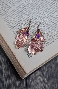 Earrings from oak leaves with amethysts drops, electroformed leaf, botanical jewelry, copper dippe, electroforming, copper electroform