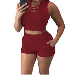PEGGYNCO Womens Wine Hooded Crop Top and Short Set Size L -- Review more details @