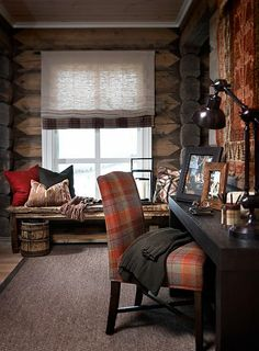 Stockholm Vitt - Interior Design: Chic Ski Lodge Cabin look Ski Lodge Decor, Mountain Cabin Decor, Mont Dore, Cabin Chic, Cozy Cabin, Lodge Style, Chalet Style, Cabin Interiors, Cabins And Cottages