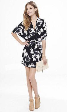 Floral Surplice Dolman Sleeve Dress | Express