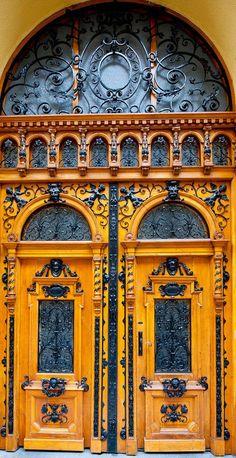 Beautiful ornate Eastern European double doors in Budapest, Hungary.