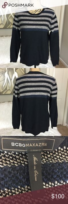 """•• BCBGMaxAzria • Knit Blue Crewneck Sweater Gorgeous medium weight blue long sleeve sweater. Viscose blend. Super cute on and great for layering. The item is in great used condition and has only been worn a handful of times. Great paired with jeans and a tank or even a t-shirt and leggings.  Measurements (Approx.) Pit to Pit: 19"""" Length: 24"""" Sleeve: 22""""  Material makeup: See picture BCBGMaxAzria Sweaters Crew & Scoop Necks"""