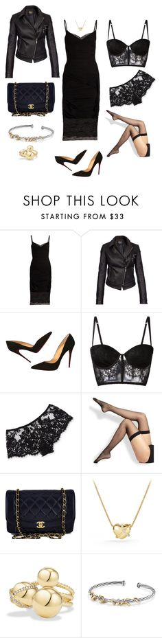 """""""Black Chic"""" by onlineorders on Polyvore featuring Versace, Barbour International, Christian Louboutin, I.D. SARRIERI, Wolford, Chanel and David Yurman"""