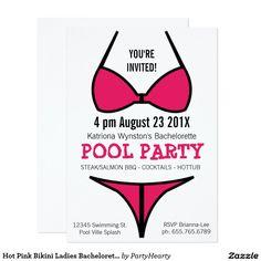 Hot Pink Bikini Ladies Bachelorette Party Card