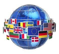 bandiera: In tutto il mondo internazionale nuvola concetto di comunicazione di…