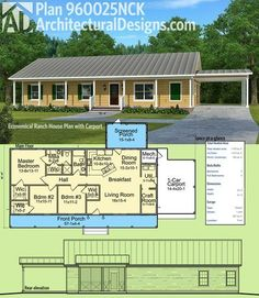 Plan Economical Ranch House Plan with Carport Architectural Designs Simple House Plan is a single-story country-style ranch with a carport on the side. It gives you over square feet of heated living space and over 450 square feet Garage House Plans, House Plans One Story, House Floor Plans, 3 Bedroom Home Floor Plans, Ranch Style Floor Plans, Metal House Plans, The Plan, How To Plan, Simple House Plans