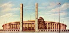 Berlin (Germany), Olympiastadion (Olympic Stadium) and Reichs Sports Field (built 1934–36 for the 1936 Olympic Games; Architect: Werner March).  East Gate and Olympic Stadium.  Postcard, 1937. From a series: 700–Jahr-Feier der Stadt Berlin, Offizielle Bildpostkarten-Sammlung.