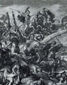 """4- Battle at the Milvian Bridge, Gérard Audran after Charles Le Brun, 1666- § GERARD AUDRAN: Il est inhumé dans l'église Saint Benoît de Paris, aujourd'hui disparue. - OEUVRE: Il grava, entre autres tableaux: *Les Batailles d'Alexandre """" de La Brun. - *L'Enlèvement de la Vérité. - *Plusieurs autres œuvres de Nicolas Poussin. - *""""Le Martyr de Saint Laurent""""' d'Eustache Le Sueur. -* Rosaire admirable, 1680, d'après Domenichino dit Zampieri 1581-1641.-"""