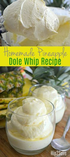 """It's so easy to make your own delicious version of the famous frozen Dole Whip at home. It's such a refreshing frozen treat that's perfect for a hot summer day! The basic idea is to """"whip"""" frozen pineapple using a high powered blender or food processor, a Köstliche Desserts, Frozen Desserts, Frozen Treats, Delicious Desserts, Yummy Food, Frozen Drinks, Sweet Desserts, Dessert Recipes, Dole Pineapple Whip"""