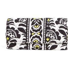 Vera Bradley Gallery Wallet in Fanfare ($23) ❤ liked on Polyvore featuring bags, wallets, fanfare, pocket bag, black zipper wallet, black bag, black wallet and black zip wallet