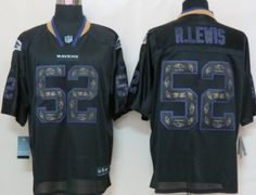 Nike Baltimore Ravens #52 Ray Lewis Lights Out Black Ornamented Elite Jersey