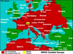 This image is a map of Europe in World War 2 that shows how much land Germany and the Axis powers took over.