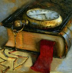 Pocket Watch With Dante's Inferno 8x8 Oil on panel -- Hall Groat II