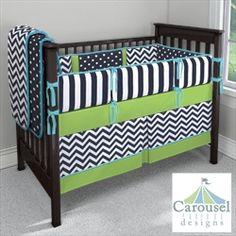 Navy And Orange Baby Bedding Crib Set Deposit By