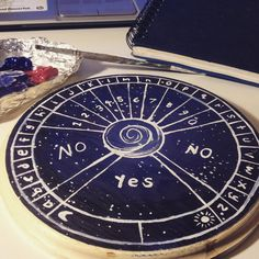 "shamanicsoul: Homemade pendulum board. ""A pendulum board is a divination tool a little bit similar to a Ouija board but is used with a pendulum and is used for questions and guidance."""