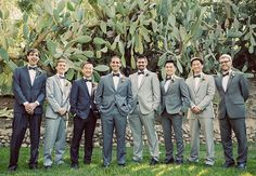mismatched gray groomsmen suits | tuxes tuxedo suits mix and match wedding groom