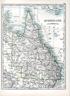 1897 victorian map ~ #queensland #australia ~ cape york #peninsula,  View more on the LINK: 	http://www.zeppy.io/product/gb/2/161634151656/