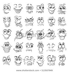 Hand Drawn Doodle Cartoon Faces Emotion Set by Cartoon face Emotion set. Various facial expressions in doodle style isolated on white.Zip file: Editable AI EPS 10 and high r Cartoon Faces Expressions, Funny Cartoon Faces, Drawing Cartoon Faces, Cartoon Expression, Doodle Cartoon, Drawing Eyes, Funny Cartoons, Cartoon Smile, Drawing Expressions