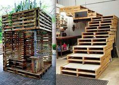 Pallet gazebo ----  Pallet staircase