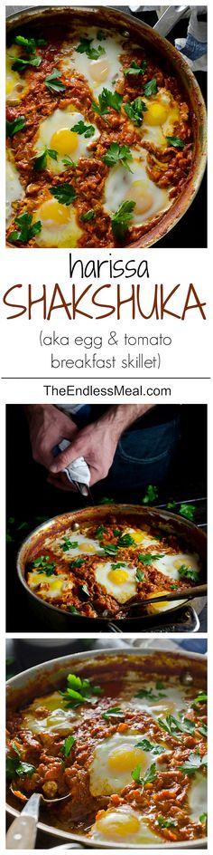 Make Ahead Harissa Shakshuka {aka: egg & tomato breakfast skillet}, from The Endless Meal