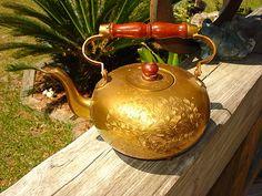 Vintage Brass Tea Pot, Wood Handle, Tea Kettle, India