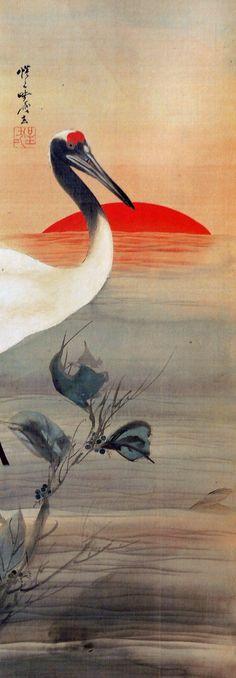 Crane, one of the japanese symbols of longevity - Kawanabe Kyōsai (1831-89)