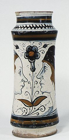 Albarello  Date: ca. 1480 Culture: Italian (Naples) Medium: Maiolica (tin-enameled earthenware) Dimensions: Overall (confirmed): 12 15/16 x 5 7/16 x 5 7/16 in. (32.9 x 13.8 x 13.8 cm)