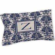 Thumbprintz Damask Monogram Sham, Blue
