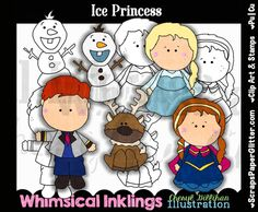 Ice Princess Clip Art, BONUS Lineart, Digital Stamps, Clipart, Black White, Line Art, Fairy Tale, Frozen, Snow Princess, Elsa, Anna, Disney by ResellerClipArt on Etsy