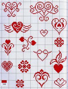 Santa Cross Stitch, Tiny Cross Stitch, Cross Stitch Heart, Cross Stitch Borders, Cross Stitch Alphabet, Simple Cross Stitch, Cross Stitch Flowers, Cross Stitching, Ribbon Embroidery