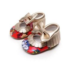Red and gold floral Mary Jane's beautiful baby girl shoes baby moccasins floral moccs floral baby sandals baby crib shoes red and gold moccs