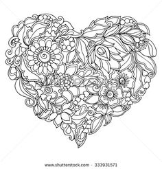 Coloring book for adult and older children. Coloring page with vintage flowers pattern