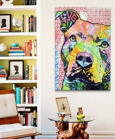 This Thoughtful Pit Bull Vertical Wrapped Canvas is perfect! #zulilyfinds