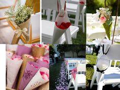 idee decoration ceremonie mariage cone en papier accroches