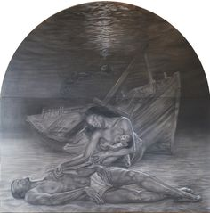 """black piety"" pencil and white conté on grey paper on panel cm 200x200"