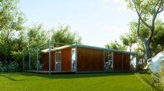 Vivienda Modular Javier Terrados (exterior/día) - Realización de infografías 3D para la presentación de un proyecto de viviendas modulares de construcción en seco. Arquitecto: Javier Terrados Cepeda