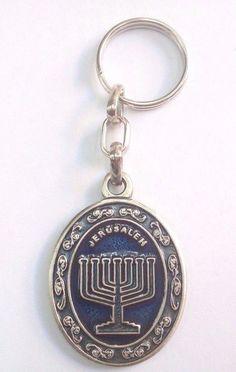 Keychain Menorah Israel Jerusalem - Key Ring Judaica