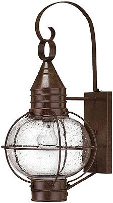Cape Cod Entry Sconce with Clear Seedy Glass, Solid Brass & Aged Patina