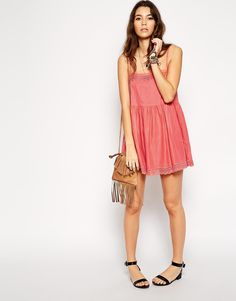 Enlarge ASOS Broderie Square Neck Frill Beach Dress