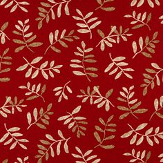 Grenadine Beige and Burgundy Foliage Print Upholstery Fabric