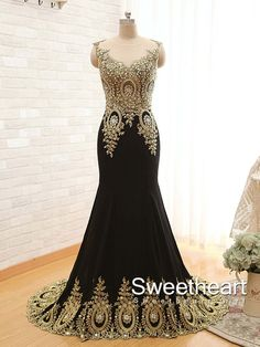 A-line Round Neckline Black Chiffon Long Prom Dresses #prom #dress #promdress