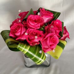 Pink roses, small, modern centerpiece from Floral Wonders