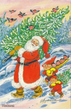 . Christmas Cards, Xmas, Illustrations And Posters, Gnomes, Elves, Illustrators, Woodland, Santa, David