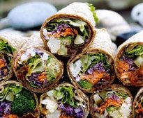 River Wraps by the fabulous Shelly Adams, Wrap Recipes, Entree Recipes, Fish Recipes, Indian Food Recipes, Vegetarian Recipes, Cooking Recipes, Sandwich Recipes, Recipies, Veggie Wraps
