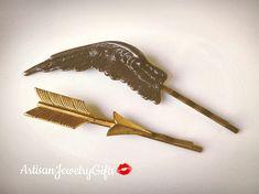 Boho Bobby Pins Gold Arrow & Black Feather Bobby Pin Set Arrow