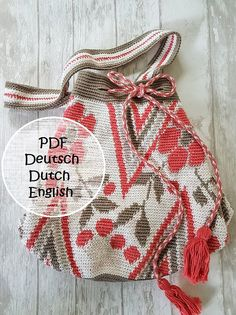 Pattern-crochet Mochila bag, its a generous bag that you can easily take to the beach  You will receive a link for downloading the pattern after payment, you can choose the English version  The bag is about 34 cm (13 inch) high and 25 cm (10 inch) in diameter You need: Crochet hook 2-3 mm (C2) Cotton The pattern also contains a detailed description of how to make a Kumihimo cord   Pattern is supplemented with clear pictures   Mochila bag * pattern mochila bag * hook pattern tapestry…
